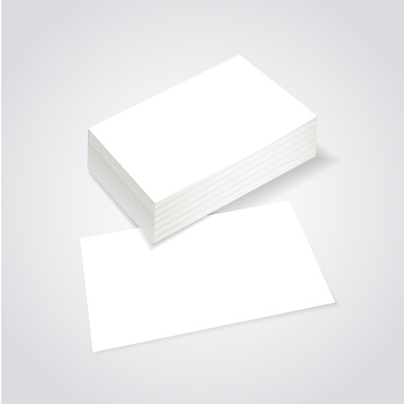 blank business card: stack of blank business card over white