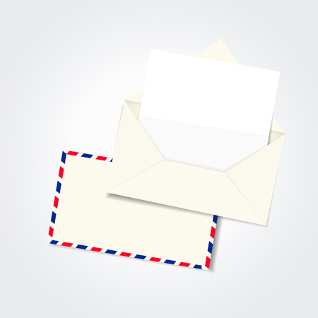 mailer: blank envelope and letter template isolated on white