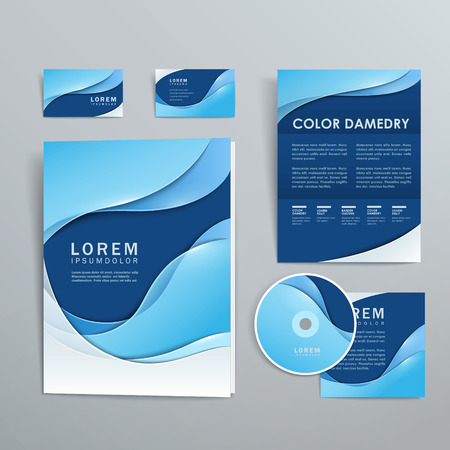abstract smooth curve lines background corporate identity set