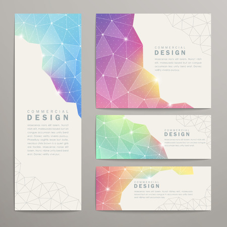 colorful frame: abstract triangle pattern background advertising banner template