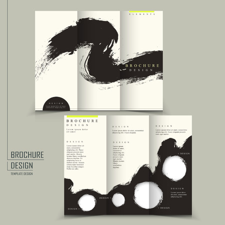 tri fold Chinese calligraphy style business brochure template  Illustration