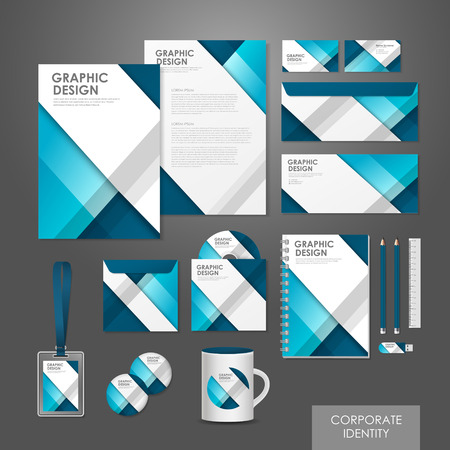 id card: abstract creative corporate identity set template in blue