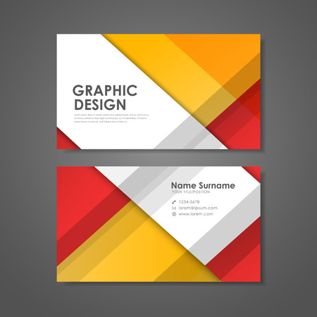 office background: abstract creative business card template in red and orange