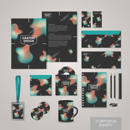 abstract creative corporate identity set template in black Vector