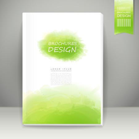 abstracte aquarel stijl brochure ontwerp in groen