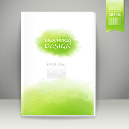 abstract watercolor style brochure design in green Illustration