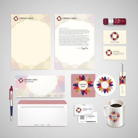 abstract flower symbol background corporate identity set over white Vector