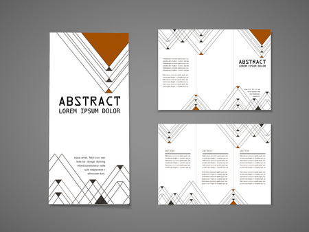 tri color: abstract modern triangle pattern background tri fold brochure template   Illustration