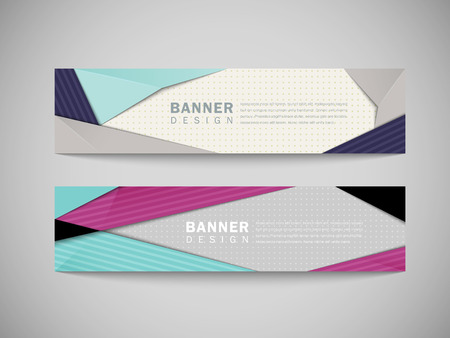 modern abstract banner template set in blue and pink