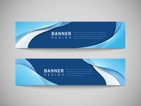 azul: resumen líneas curvas suaves banner publicitario fondo