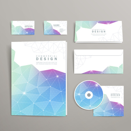 abstract triangle pattern background corporate identity set