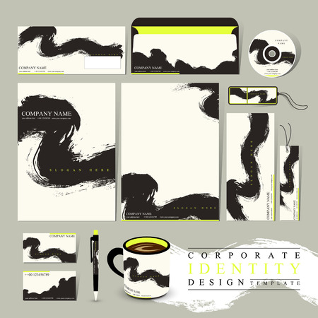 Chinese calligraphy style corporate identity set template  Vector