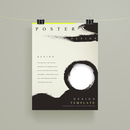 chinese calligraphy: Chinese calligraphy style business poster template hanging on the wall