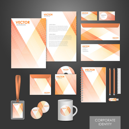 abstract modern design corporate identity set in white and orange Vector