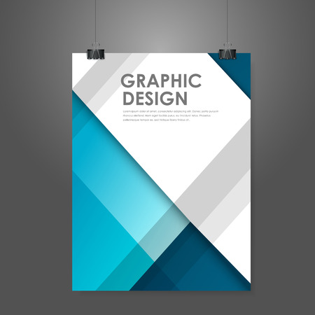 abstract creative business poster template in blue  Ilustração