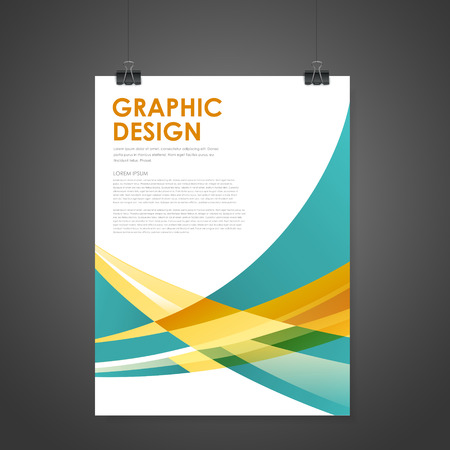 business invitation: abstract modern poster template in orange and blue