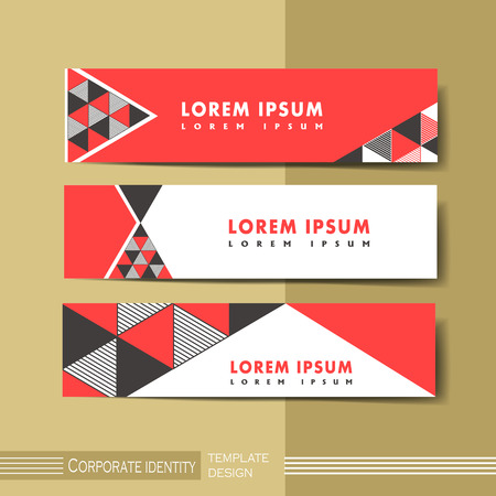 banner ads: abstract modern geometric advertising banner in red and black