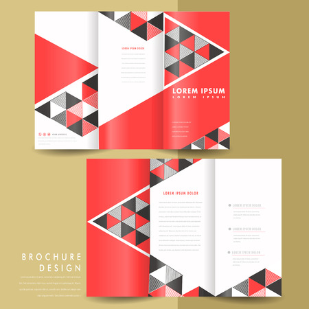 tri fold: abstract modern geometric tri fold brochure in red and black