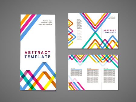 colorful geometric shape: abstract colorful triangle pattern background tri fold brochure template