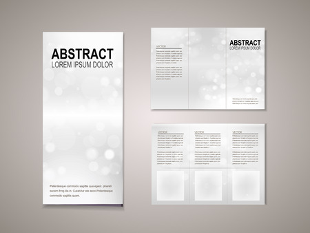 abstract sparkling background tri fold brochure template in silver tone Vector
