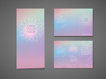 tri color: abstract colorful flower shape background tri fold brochure template