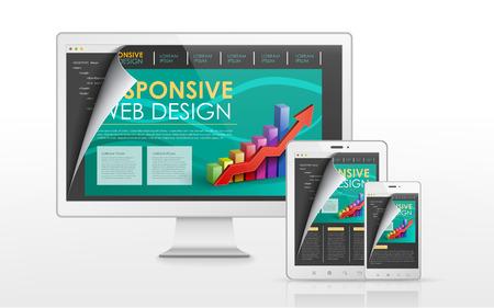 flat screen tv: sensible concepto de dise�o web en televisi�n de pantalla plana, tableta y tel�fono inteligente Vectores
