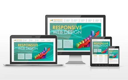 """""""flat screen"""": responsive web design concept in flat screen TV, tablet, smart phone and laptop"""