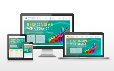 scalable set: responsive web design concept in flat screen TV, tablet, smart phone and laptop