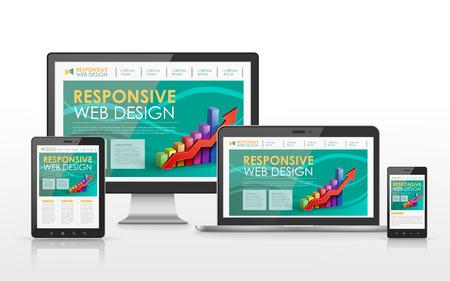 フラット スクリーン テレビ、タブレット、スマート フォン、ラップトップでレスポンシブ web デザイン コンセプト  イラスト・ベクター素材