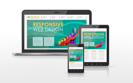 web site: responsive web design concept in laptop, tablet and smart phone Illustration