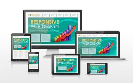 tv scherm: responsieve web design concept in de flat screen TV, tablet, smartphone en laptop Stock Illustratie