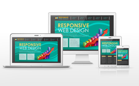 scalable: responsive web design concept in flat screen TV, tablet, smart phone and laptop