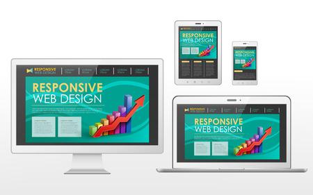 flat screen tv: sensible concepto de dise�o web en la televisi�n de pantalla plana, tableta, tel�fono inteligente y un ordenador port�til