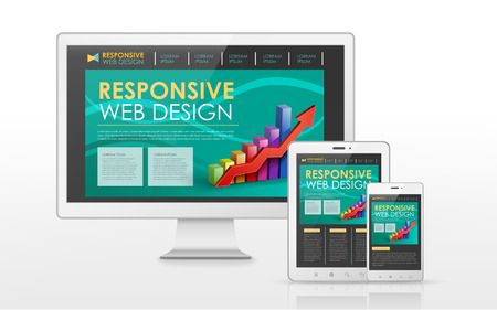 flat screen tv: responsive web design concept in flat screen TV, tablet and smart phone