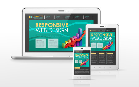 responsive web design concept in laptop, tablet and smart phone Illustration