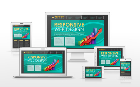responsive web design concept in flat screen TV, tablet, smart phone and laptop Vector