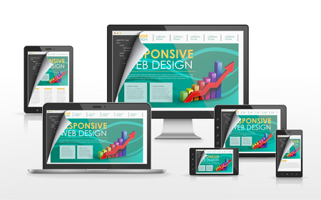 responsieve web design concept in de flat screen TV, tablet, smartphone en laptop Stock Illustratie