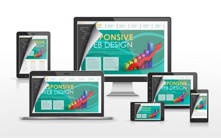 Sensible concepto de diseño web en la televisión de pantalla plana, tableta, teléfono inteligente y un ordenador portátil Foto de archivo - 31995450