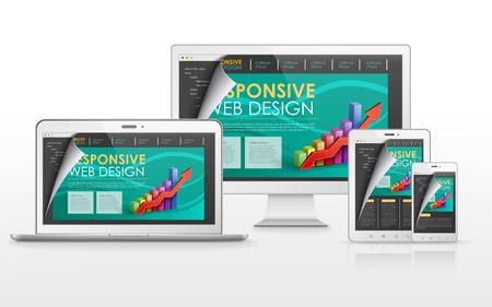 tv scherm: responsive web design concept in flat screen TV, tablet, smart phone and laptop