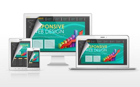 �cran plat: sensible concept de conception de sites Web � la t�l�vision � �cran plat, tablette, smartphone et ordinateur portable Illustration