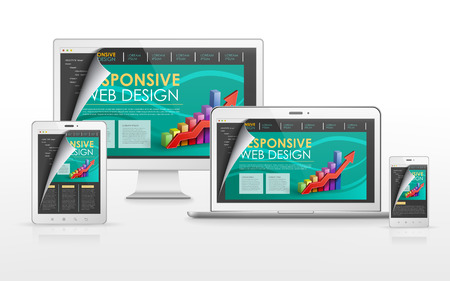 site web: responsive web design concept in flat screen TV, tablet, smart phone and laptop