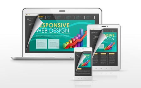 responsive web design concept in laptop, tablet and smart phone Illustration