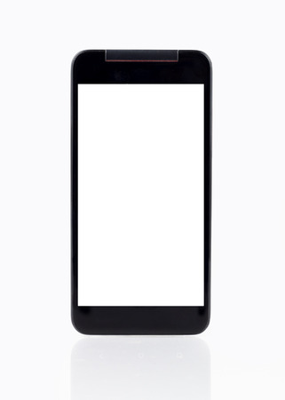 taking photograph: photo of smart phone with blank screen isolated on white