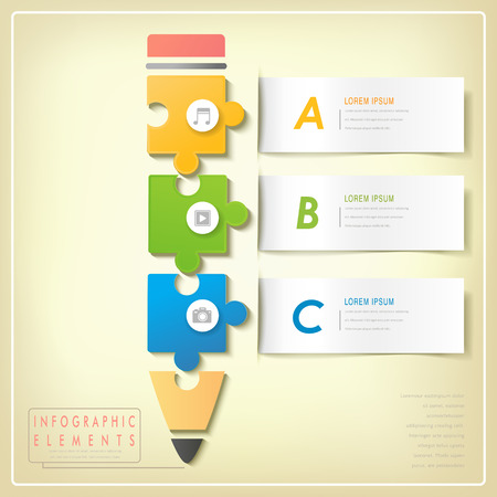puzzle icon: modern puzzle pencil infographic elements isolated on yellow