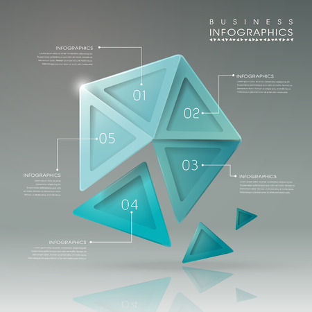 abstract translucent geometric pentagon infographic elements template