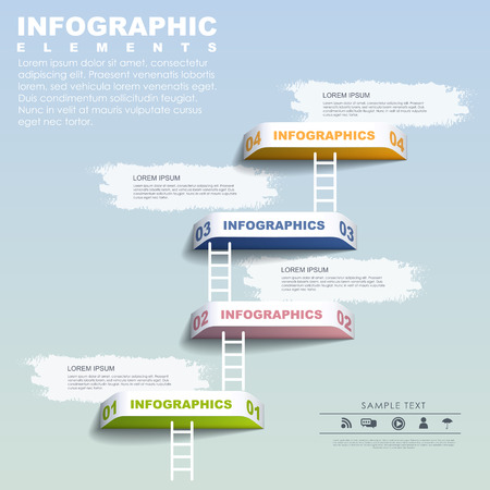 set goal: step by step concept infographic elements template over blue