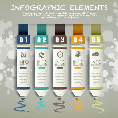 pensamiento creativo: lápiz de papel creativo gráfico de barras plantilla de elementos infográficos