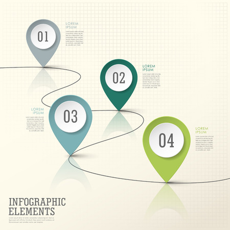coordinate: abstract modern paper location mark infographic elements template
