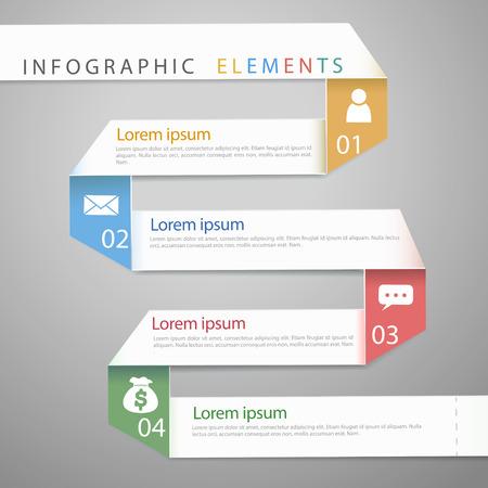 paper folding: modern paper folding concept infographic elements template  Illustration