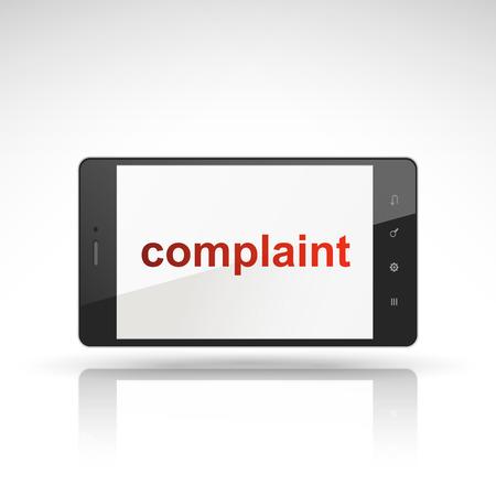 prioridades: palabra denuncia en el tel�fono m�vil aislado en blanco Vectores
